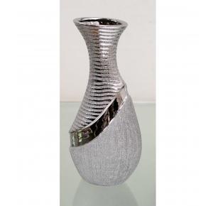 jarron ceramica plateado cuello estrecho - Jarrones Decorados