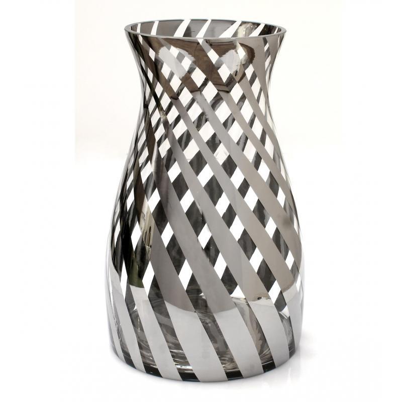 jarron florero cristal ahumado plata detalle rombo
