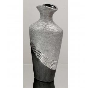 jarron florero ceramica plateado cuello estrecho