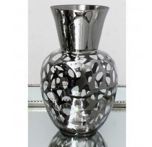 jarron florero cristal grande boca ancha cromada