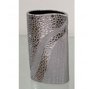 jarron florero ceramica plateado oval - Jarrones Decorados