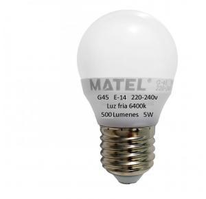 BOMBILLA LED MATEL 5W E-14 6400K G-45 500 LUMENES 220-240V