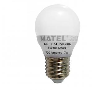 BOMBILLA LED MATEL 7W E-14 6400K G-45 700 LUMENES