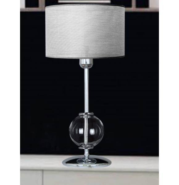lampara mesita noche bola cristal y pantalla plata - Lamparas Mesita Noche