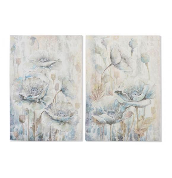 Cuadro lienzo flores con apliques de cristal - Apliques para cuadros ...