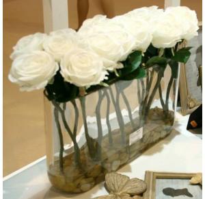 CENTRO DE CRISTAL DE FLORES ARTIFICIALES DE ROSAS BLANCAS