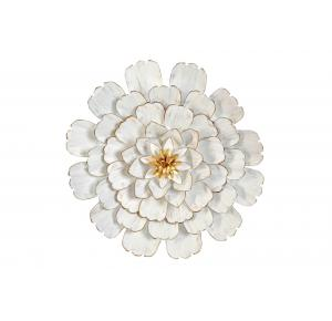 DECORACION FLOR BLANCA DORADA PARED METAL